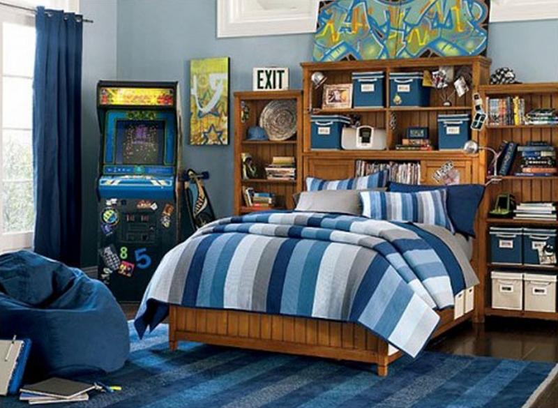 Blue Teenage Boys Bedroom