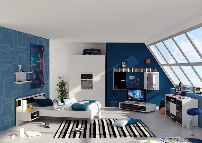 Contemporary Blue Teenage Boys Bedroom
