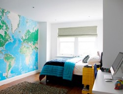 Teenage Boys Bedroom with World Map Wall Mural