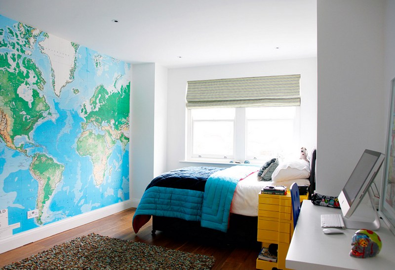 Teenage Boys Bedroom With World Map Wall Mural Part 95