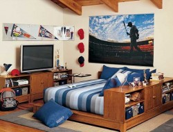 Sports Inspired Teenage Boys Bedroom