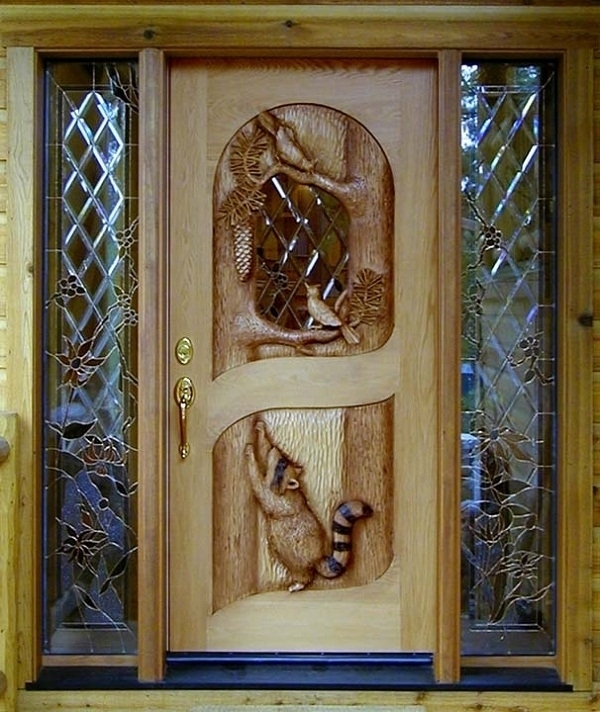 Racoon and bluejay door by Ron Ramsey of Lake Tahoe