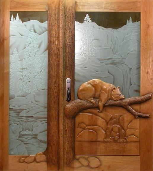 Sleeping bear door carved Ron Ramsey of Lake Tahoe