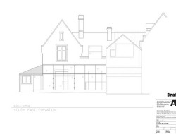 Traditional Brick House With Modern Glass Extension - South East Elevation