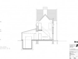 Traditional Brick House With Modern Glass Extension - Section B - B