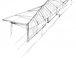 Wall House - Sketch Depicting the Twisted Roof