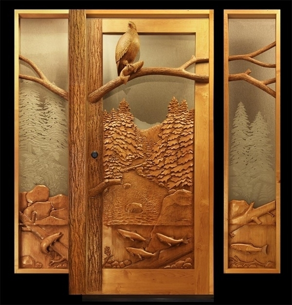 Eagle and fish entry door by Ron Ramsey of Lake Tahoe