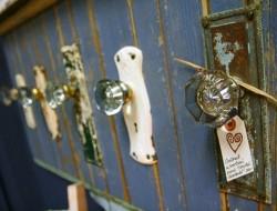 Glass Door Knob with Plate Coat Rack