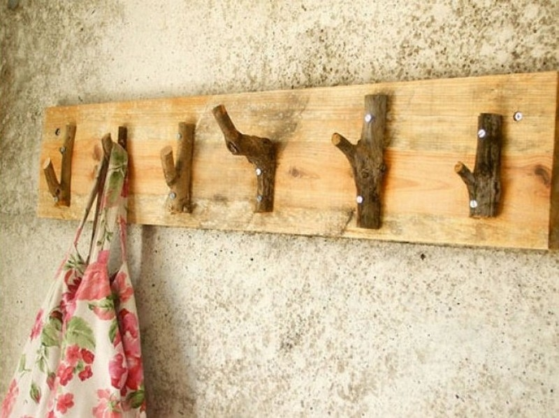 Simple Hangers Made of Wooden Board and Tree Branch