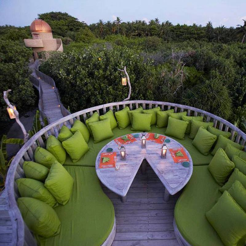 Outdoor dining at the Soneva Fushi Resort in the Maldives...