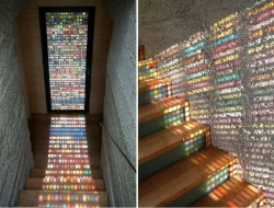 Stained glass windows are not for everyone, but this modern example allows for beautiful colours to flood the interior of the house without one drop of paint or one piece of soft furnishing.  What do you think about the idea?