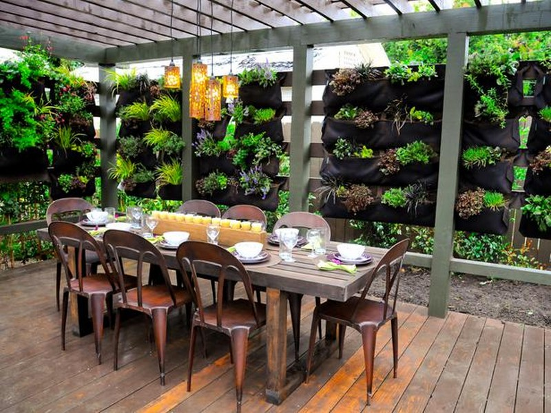 An edible vertical garden as a backdrop