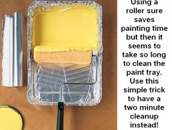 Paint tray clean-up solution.
