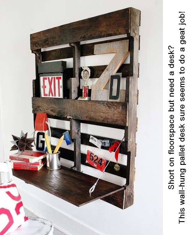 This wall-hung pallet desk is a very cheap solution when floor space is limited.