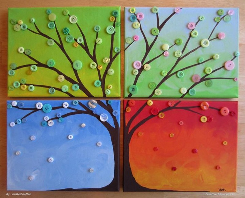Four Seasons Button Tree Wall Art - Busted Button