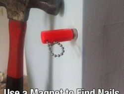 Use a magnet to find nails and studs in your wall.
