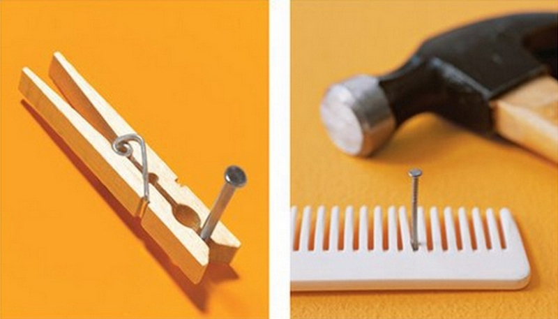 Use a clothespin or comb to hold a nail while hammering.