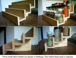 Tiered spice rack keep things organized.