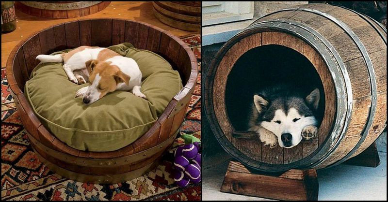 Recycled wine barrels the owner builder network for Barrel dog house designs