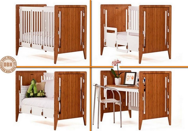 Here's a baby crib that can be transformed into a toddler's bed, a day bed and a desk! We give it 10 points.