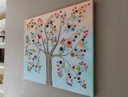 Why buy wall decor, when you can make one! Here's an idea that uses buttons. Thumbs up?