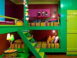It's bright!   But when you get past the colour, this is a good use of space in a kids room.