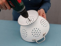 DIY Colander Pendant Lamp - Drilling the Hole