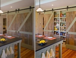Repurposed Barn Door Pantry