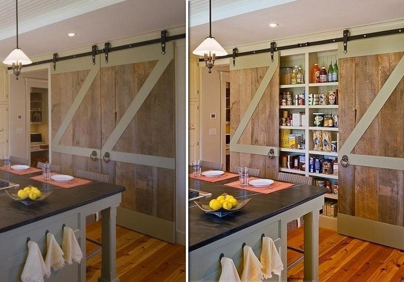 Repurposed Barn Door Pantry