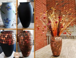 All you need to make your flower vase interesting are a few pennies!