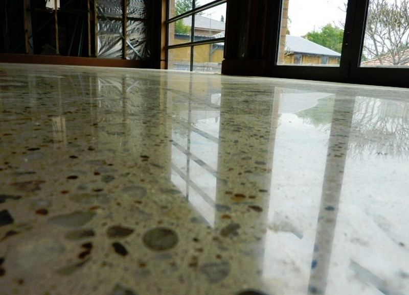 Polished concrete with clear coating