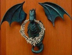 Gothic Dragon Iron Door Knocker and Bell