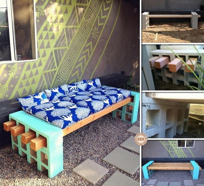 DIY Cinder Block Outdoor Bench