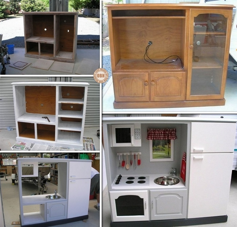 Turn an old TV cabinet into a play kitchen