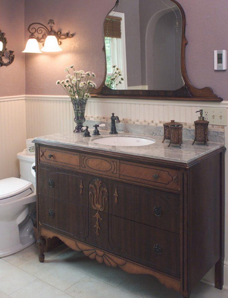 Diy dresser to vanity the owner builder network - Bathroom vanities from old dressers ...