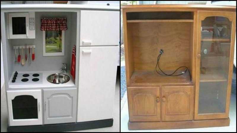 transform old kitchen cabinets turn an tv cabinet into a play kitchen 27292