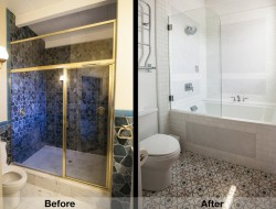 The master bath was converted into a full bath with a tub, and brightened with the new tile.