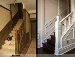 Changing the floors and painting the dark wood on the walls and banister creates a much brighter foyer.
