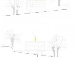 Casa B - dressed in yellow - Segovia Spain - transverse elevations