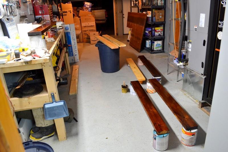 DIY Bookshelf Craft Table - Timber Staining