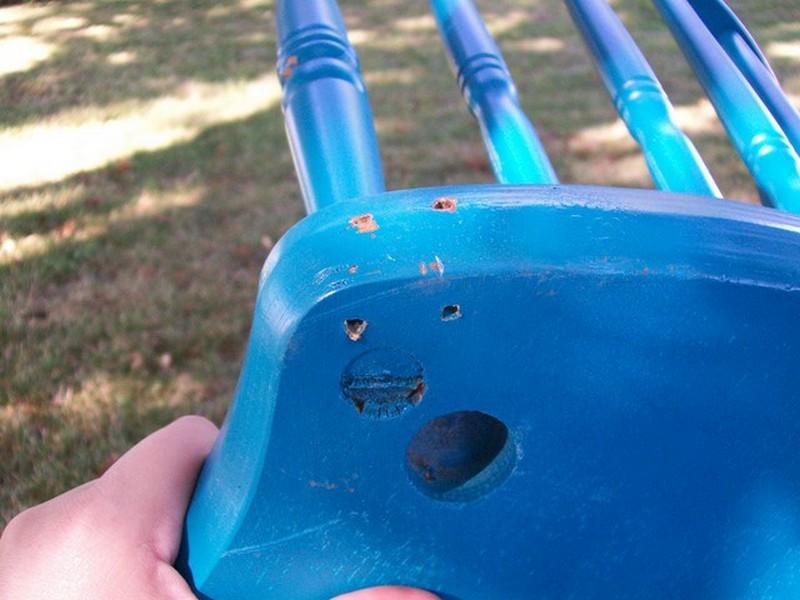 DIY Chair Tree Swing - Holes