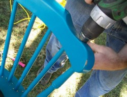 DIY Chair Tree Swing - Drill Holes