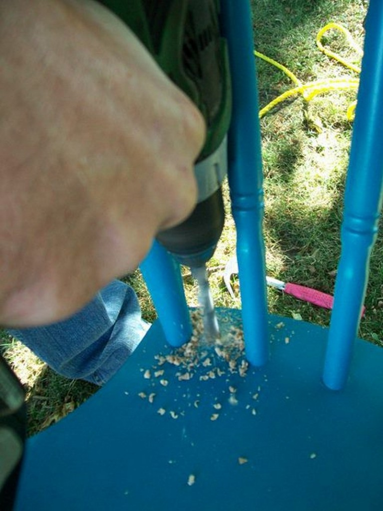 DIY Chair Tree Swing - Drill Holes