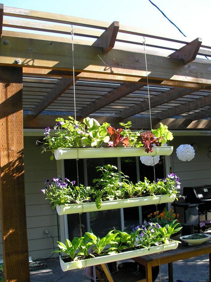 diy hanging gutter garden the owner builder network. Black Bedroom Furniture Sets. Home Design Ideas