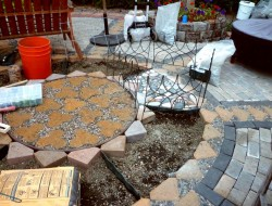 DIY Paver and Pebble Mosaic Patio - Pavers and Pebbles