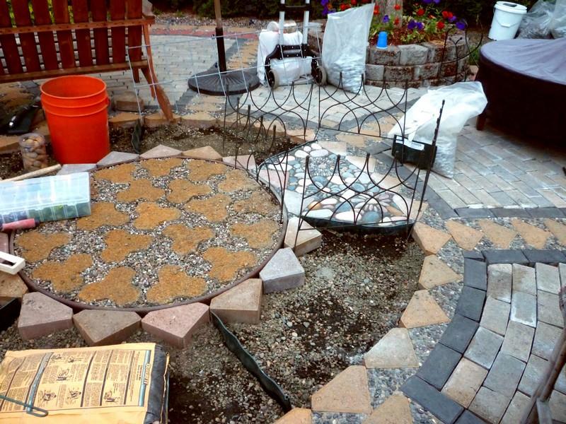 DIY Paver and Pebble Mosaic Patio - Pavers and Pebbles