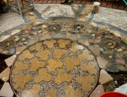 DIY Paver and Pebble Mosaic Patio