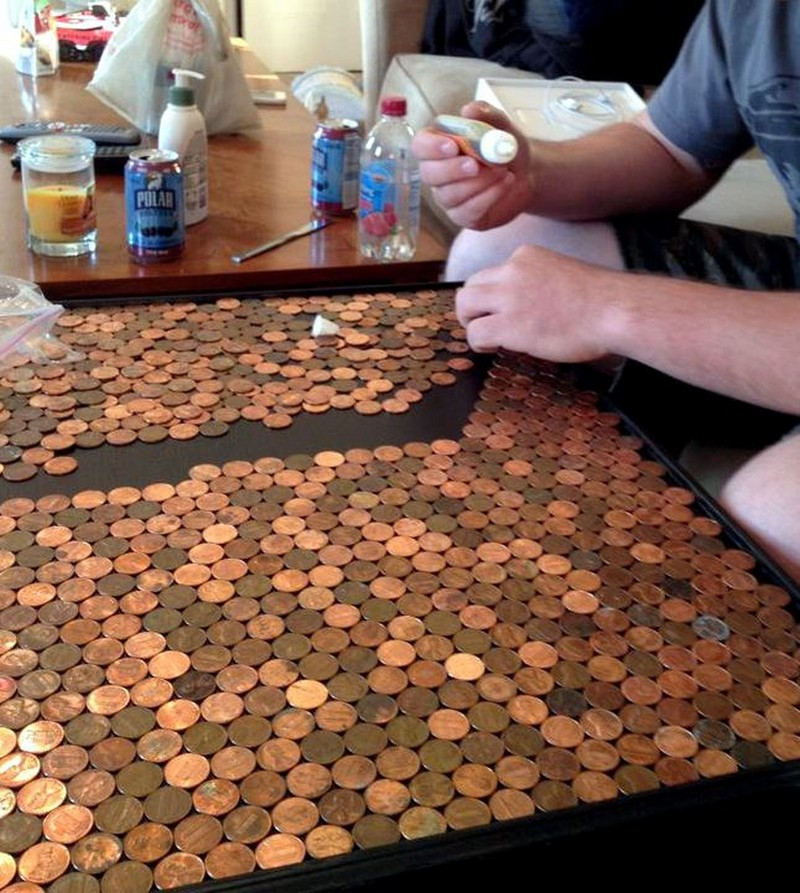 Give Your Coffee Table A Makeover Using Pennies