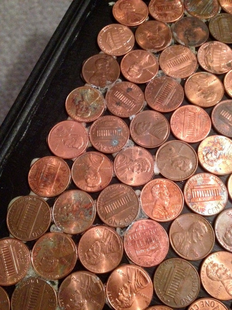 Give Your Coffee Table A Makeover Using Pennies The