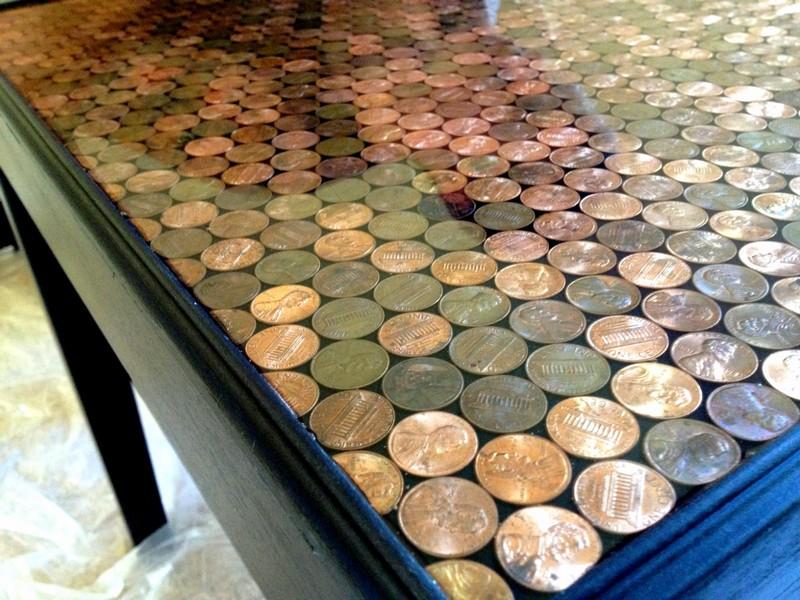 DIY Penny Top Coffee Table